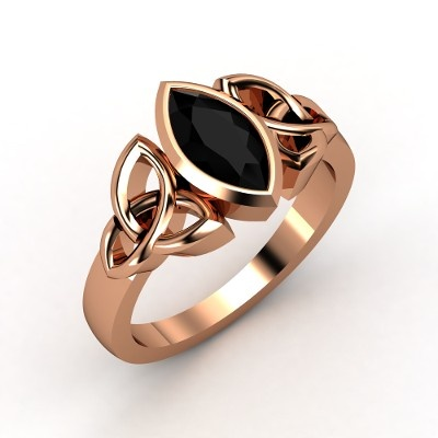 14K Rose Gold Ring with Black Onyx - Perspective