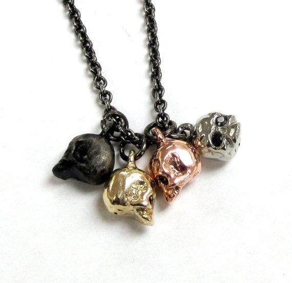 Unisex 10k gold Skull pendants with Onyx eyes choice by lorgjewels, $475.00