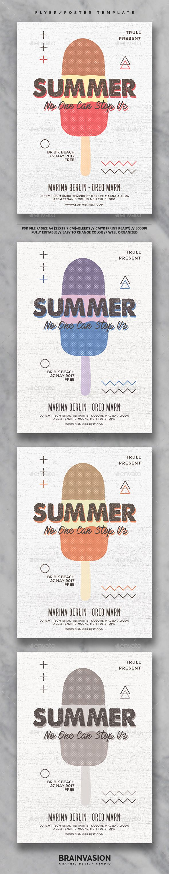 Poster design free download - Summer Flyer Poster Template Vol 01 Photoshop Psd Best Seller 8 3