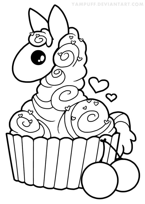 kawaii donut coloring page cupcake llama lineart by yampuff on deviantart