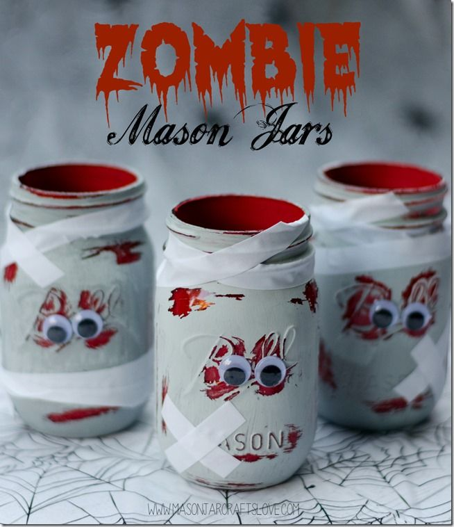 Zombie Mason Jars - Halloween Craft Idea