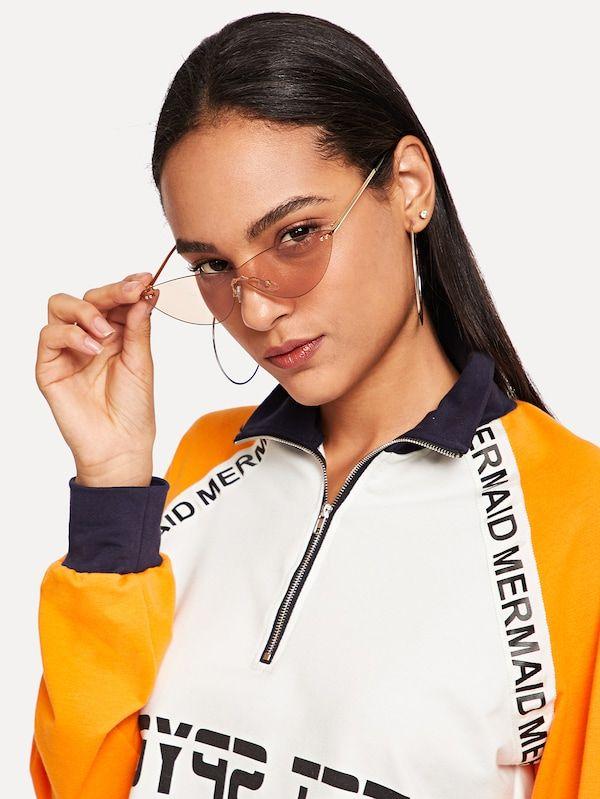 9d706da76ab Rimless Tinted Lens Sunglasses -SheIn(Sheinside)