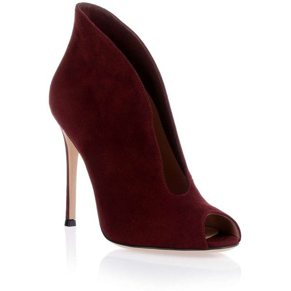 Gianvito Rossi Burgundy suede Vamp bootie ($850) ❤ liked on Polyvore featuring shoes, boots, ankle booties, heels, booties, chaussure, peep toe booties, suede booties, high heel ankle booties and suede peep toe booties