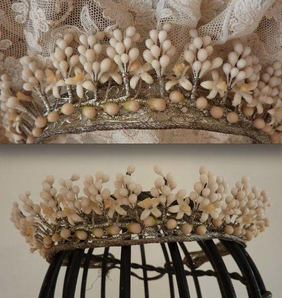 Bride's wax orange blossom & silver metallic trim wedding crown, 1920's~Images via Ruby Lane