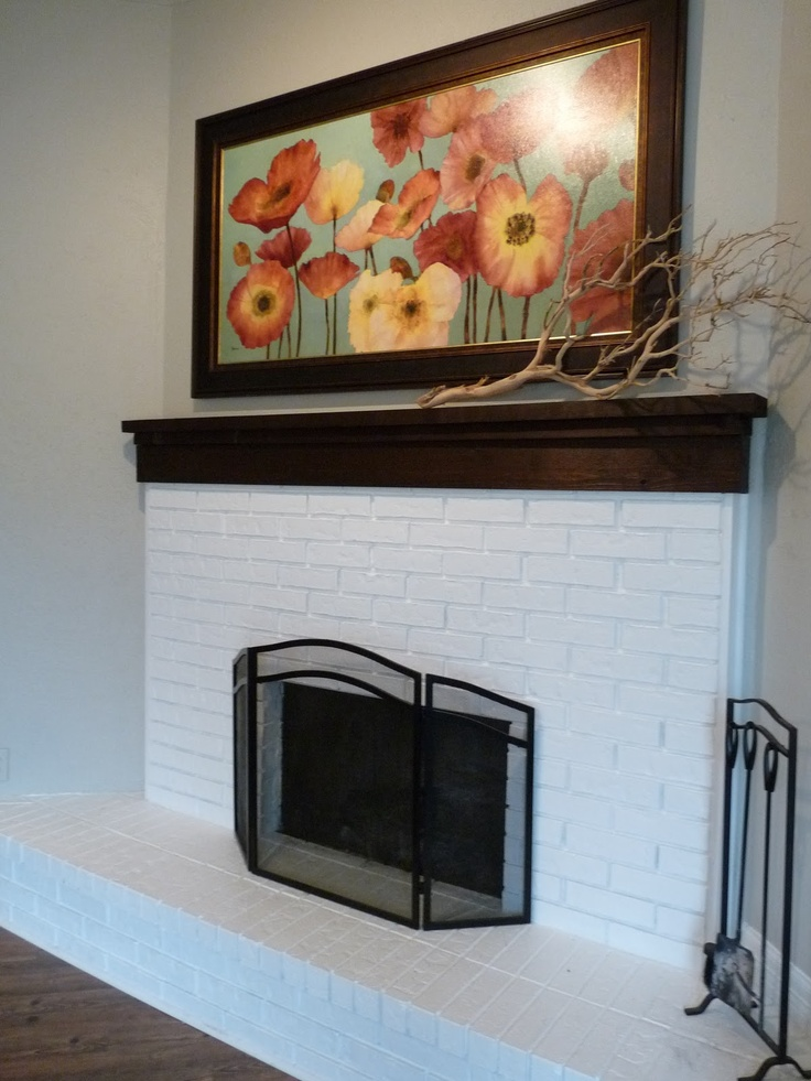 78 best painted white brick fireplaces images on pinterest for Brick fireplace white mantle