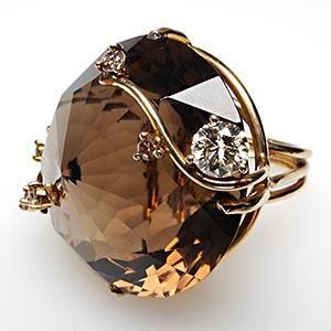 MASSIVE VINTAGE SMOKY QUARTZ & DIAMOND COCKTAIL RING SOLID 14K GOLD