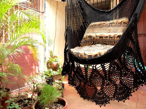 Black Sitting Hammock Hanging Chair Natural Cotton And By Hamanica, $48.00