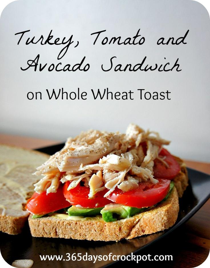 Turkey, Tomato and Avocado Sandwich on Whole Wheat Toast
