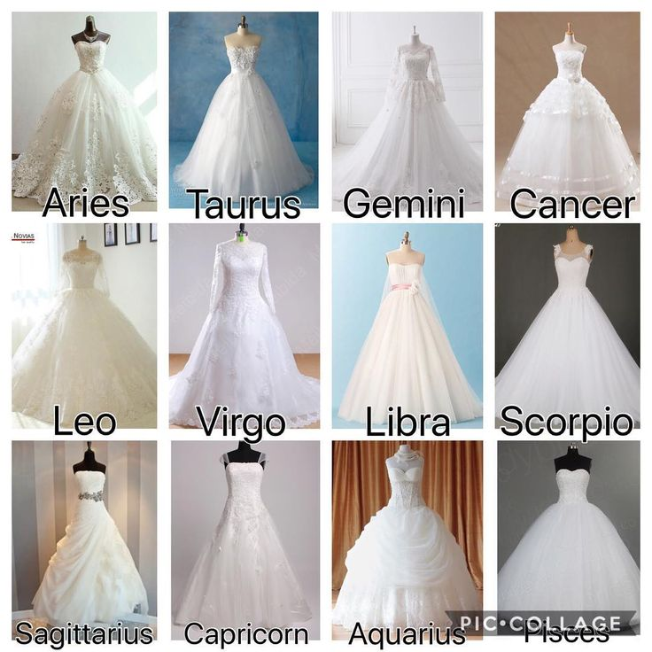 The signs as wedding dresses! – – – – #zodiac #aries #taurus #gemini #cancerzodi…