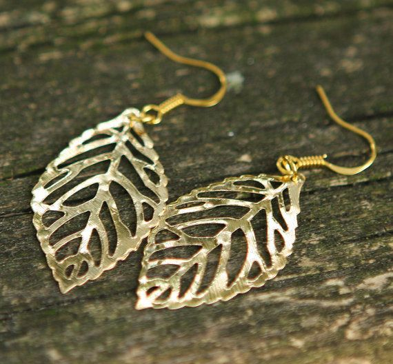 Simple Leaves Gold Plated Earrings Jamie's Hand Made Gift Everyday Jewelry