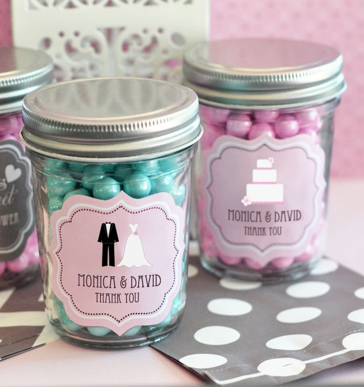 Shabby chic is all the rage, and our Theme Mini Mason Jar Favors will be the perfect decoration and gift to commemorate your special day. Invite your guests to enjoy your most favorite decadence by filling these jars with something sweet. Then, once they're done, they have a lovely keepsake jar that's ideal for holding small items in the office or even spices in the kitchen. These DIY wedding favors are certainly ones to remember! Assembly required. $1.49 96+)