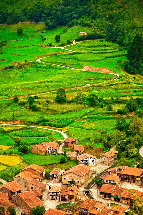 Aerial view of a typical town in Saja Valley, Cantabria, Spain