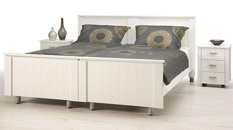 Bed ledikant Gelre deelbaar Vroomshoop, wit, landelijk, met wielen , nachtkastje ,pocketmatras, 470 px