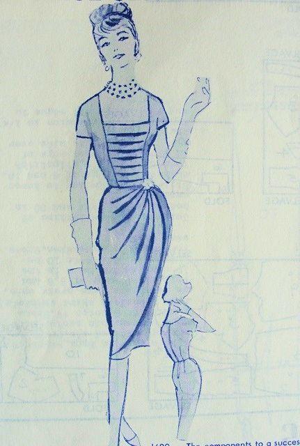 1960 STUNNING COCKTAIL DRESS PATTERN LOW SQ NECKLINE, PENCIL SLIM DRAPED SKIRT VERY MAD MEN MODES ROYALE 1689