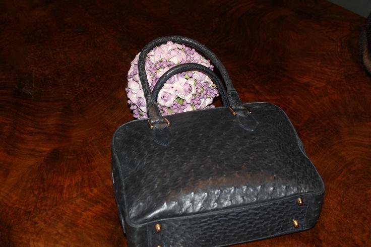 Walking handbag in ostrich