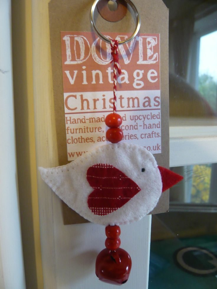 White and Red Hand Sewn Birdie Bag Charm/Christmas Tree Decoration