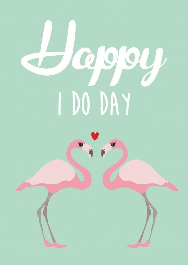 Studio inktvis HIP postkaarten #flamingo #wedding