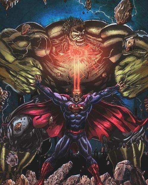 Hulk vs superman #marvel #dc  #hulk #superman