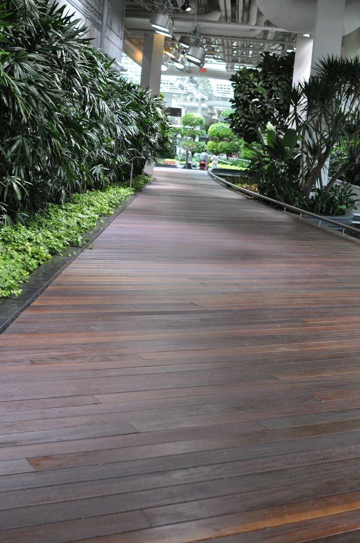 Located at 8 Avenue, and 2 Street SW, Calgary, Alberta. The Devonian Gardens feature the Red Balau Batu Exotic Hardwood, supplied by Kayu Canada Inc.