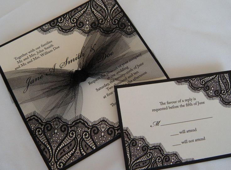 Amazing Elegant Black Lace Invites From Peony Press MN