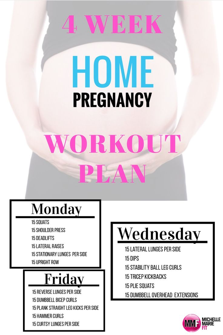 4 Week Home Pregnancy Workout Plan. Safe for every trimester of pregnancy and can be done at home with no equipment.    http://michellemariefit.com/4-week-pregnancy-workout-plan/