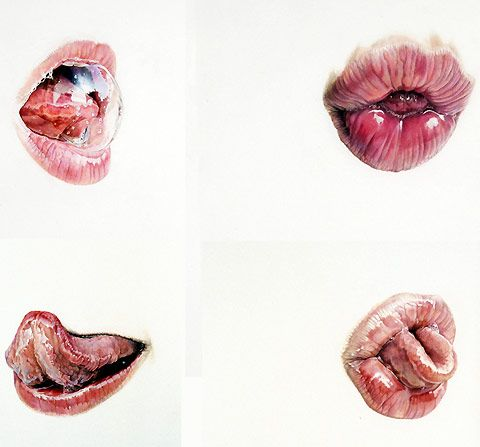 Artist Julia Randall has been making the internet rounds with her amazing photorealistic color pencil drawings of disembodied lips, tongues, and spit bubbles.