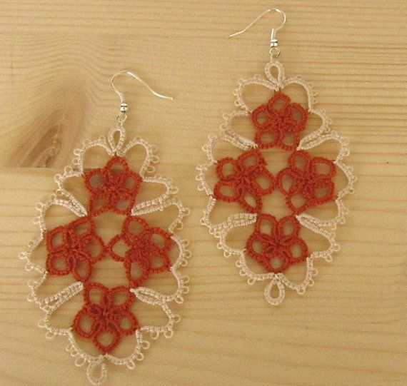 Earrings for women cotton lace pendants, earrings to elegant ceremony, pure cotton yarn, in two colors.