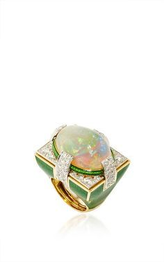 Couture Opal Ring - Cabochon Opal (21.56 cts), Brilliant-cut Diamonds (3.18 cts),18K Yellow Gold, Platinum & Green Enamel by DAVID WEBB 'SS16' for Preorder on Moda Operandi ♥≻★≺♥