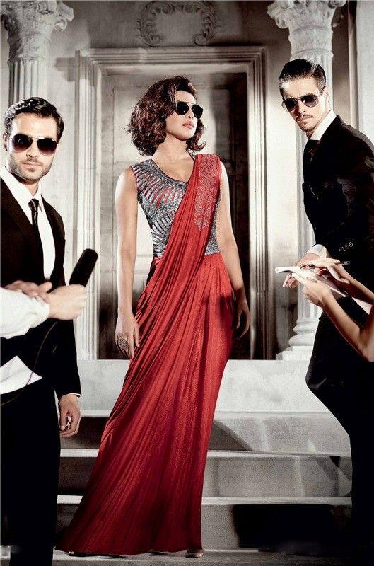 Priyanka Chopra Red Colour Lycra Designer Party Wear Saree