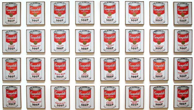 Andy Warhol, Campbells Soup Cans, 1962, The Campbells soup canvases were the first paintings Andy Warhol displayed in an art gallery; he made 32 canvases, one for each type of Campbells soup. They sold as a unit for $1,000, but now they all currently hang in the Museum of Modern Art in New York.