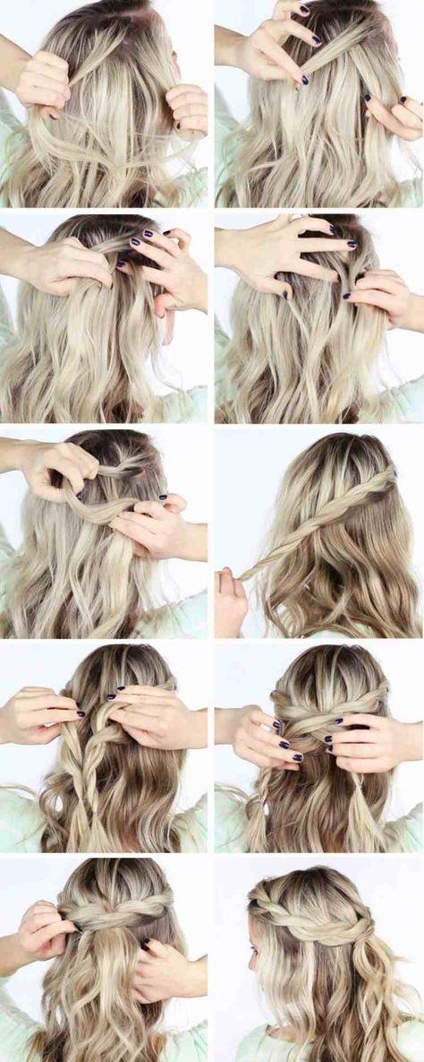 Tuto Coiffure Cheveux Mi Long Idee Couronne Tresse Beauté