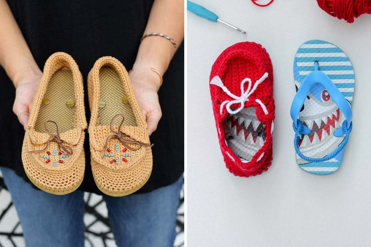 Free crochet patterns for slippers with flip flop soles. Pattern to make women's moccasins and kids/toddler's boat shoes. Video tutorial!