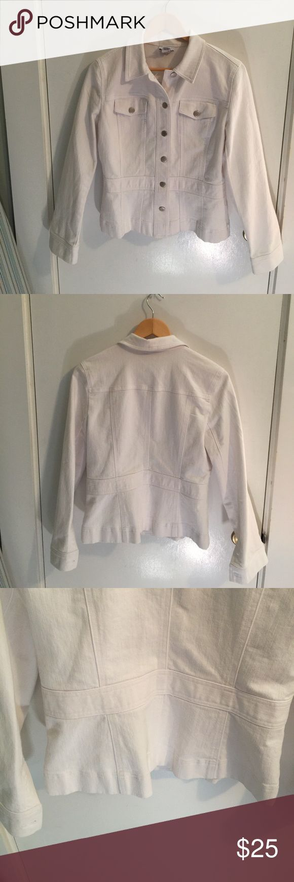 White Anne Taylor loft jean jacket• stretch denim! White stretch denounced jack from Anne Taylor loft. Great condition. Comes from a smoke free and pet free home. Great for spring and summer! Ann Taylor Jackets & Coats Jean Jackets