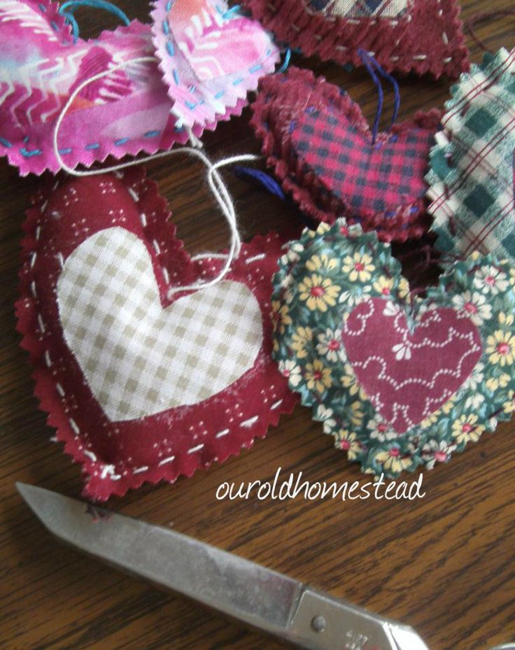 Hand-sewn Heart garland. Good beginner sewing project for the girls.