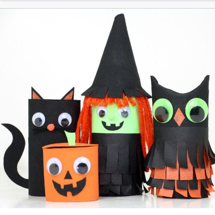 Cute Halloween toilet roll craft.
