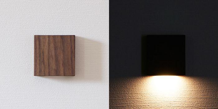 天然木の光センサー付き常夜灯「CALM」。両面テープフックを壁に貼るだけ、コンセント不要のUSBケーブル充電式なので、場所を選ばずに設置できます。停電時には非常灯としても使用できます。木目を楽しめる6.5cmのシンプルデザイン。