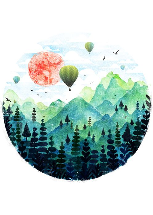 Paisaje globo montañas verde acuarelas