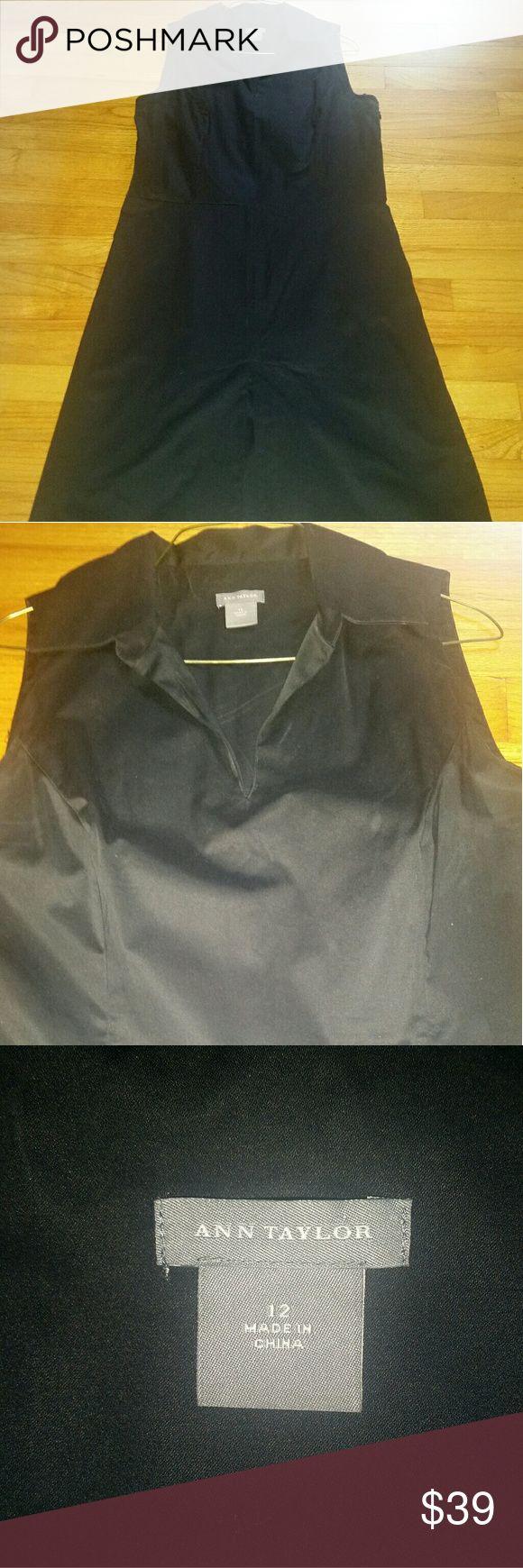 Ann Taylor black cotton shift dress Classic knee length staple dress for summer. Ann Taylor Dresses Midi