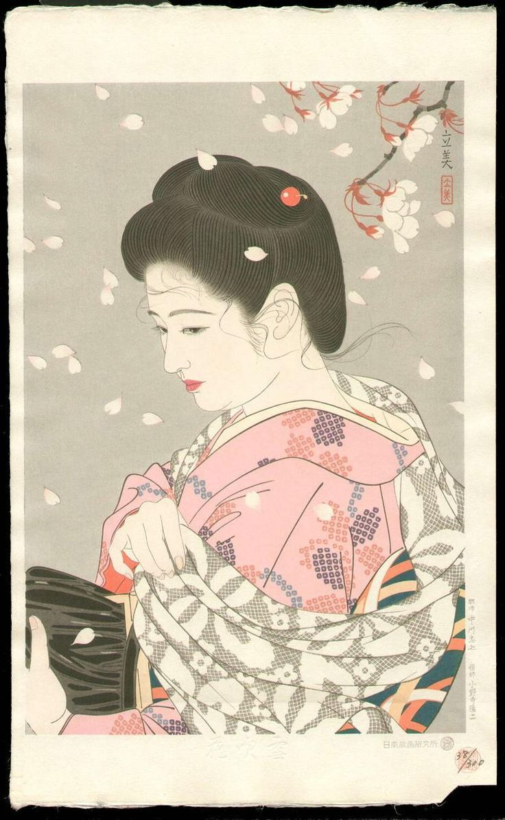 "tofugu: "" Falling Cherry Blossoms - Tatsumi Shimura (Showa Period - 1953) 久方の光のどけき春の日に しづ心なく花の散るらむ ""The spring has come, and once again The sun shines in the sky; So gently smile the heavens, It..."