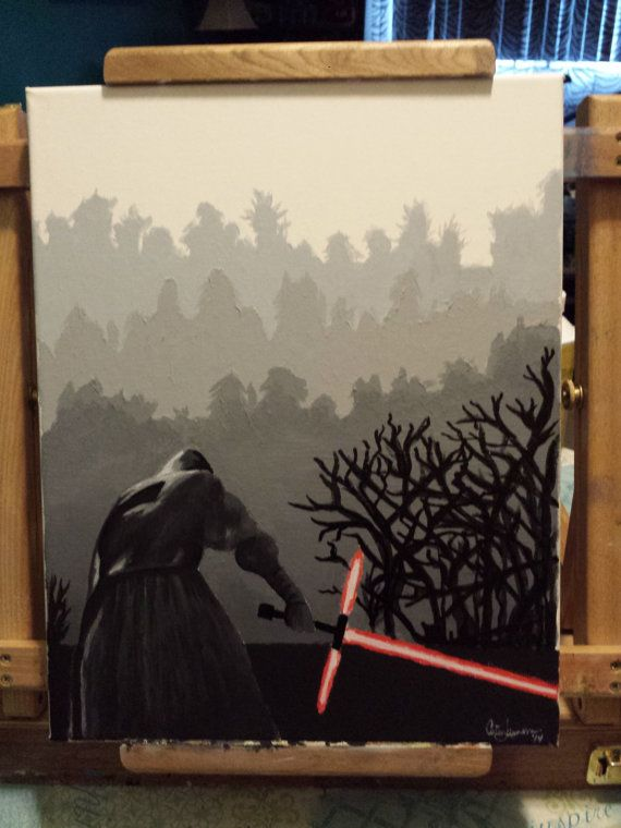 Acrylic painting based on the trailer for Star Wars - The Force Awakens featuring the now-famous new lightsaber design held by Kylo Ren. 11 x 14.