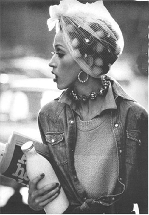"""Nuovo Gilet Con Vecchio Jeans"", Vogue Italia,   March 1981  Photographer: Peter Lindbergh  Model: Pat Cleveland"