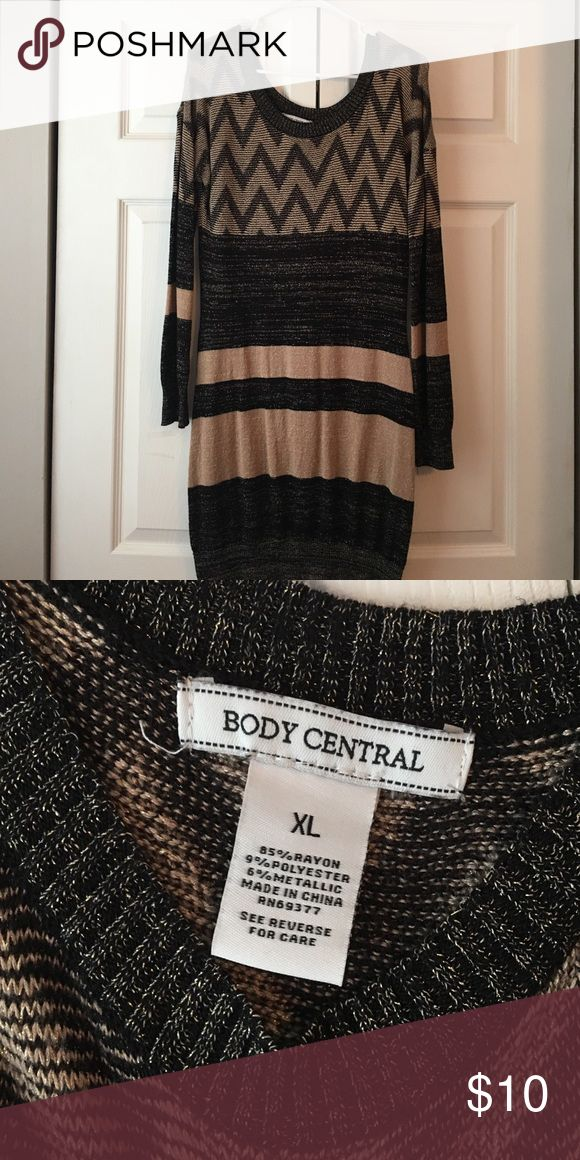 Dress Black gold and tan sweater dress worn once size xl from body central Body Central Dresses Midi