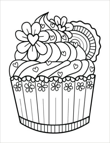 80 best cupcakes + cakes coloring pages for adults images on ... - Blank Birthday Cake Coloring Page