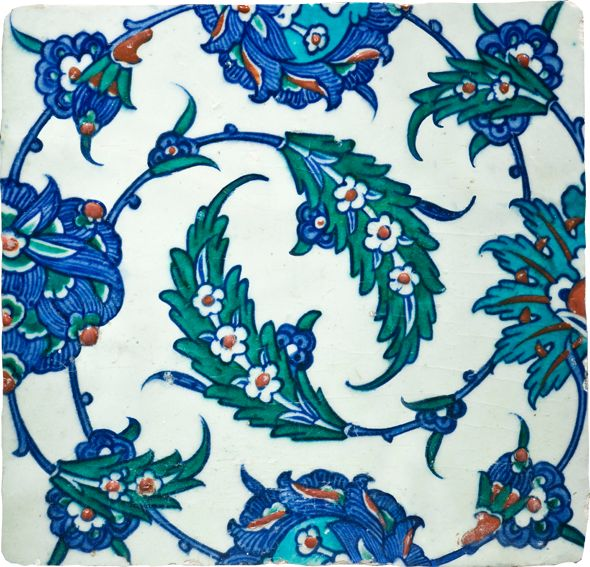 Swirling Saz Leaves Turkey (Iznik), early 17th century