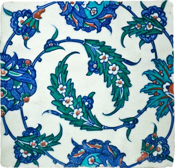 Swirling Saz Leaves Turkey (Iznik), early 17th century