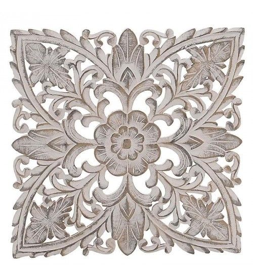 WOODEN WALL DECOR IN WHITE-GOLD COLOR 50X3X50