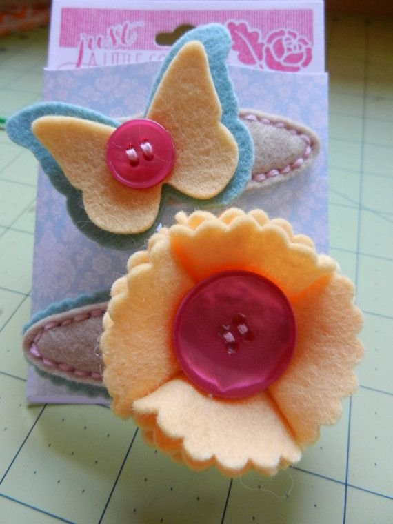 8 month old baby photo ideas - Felt barrettes Nice t for little girls