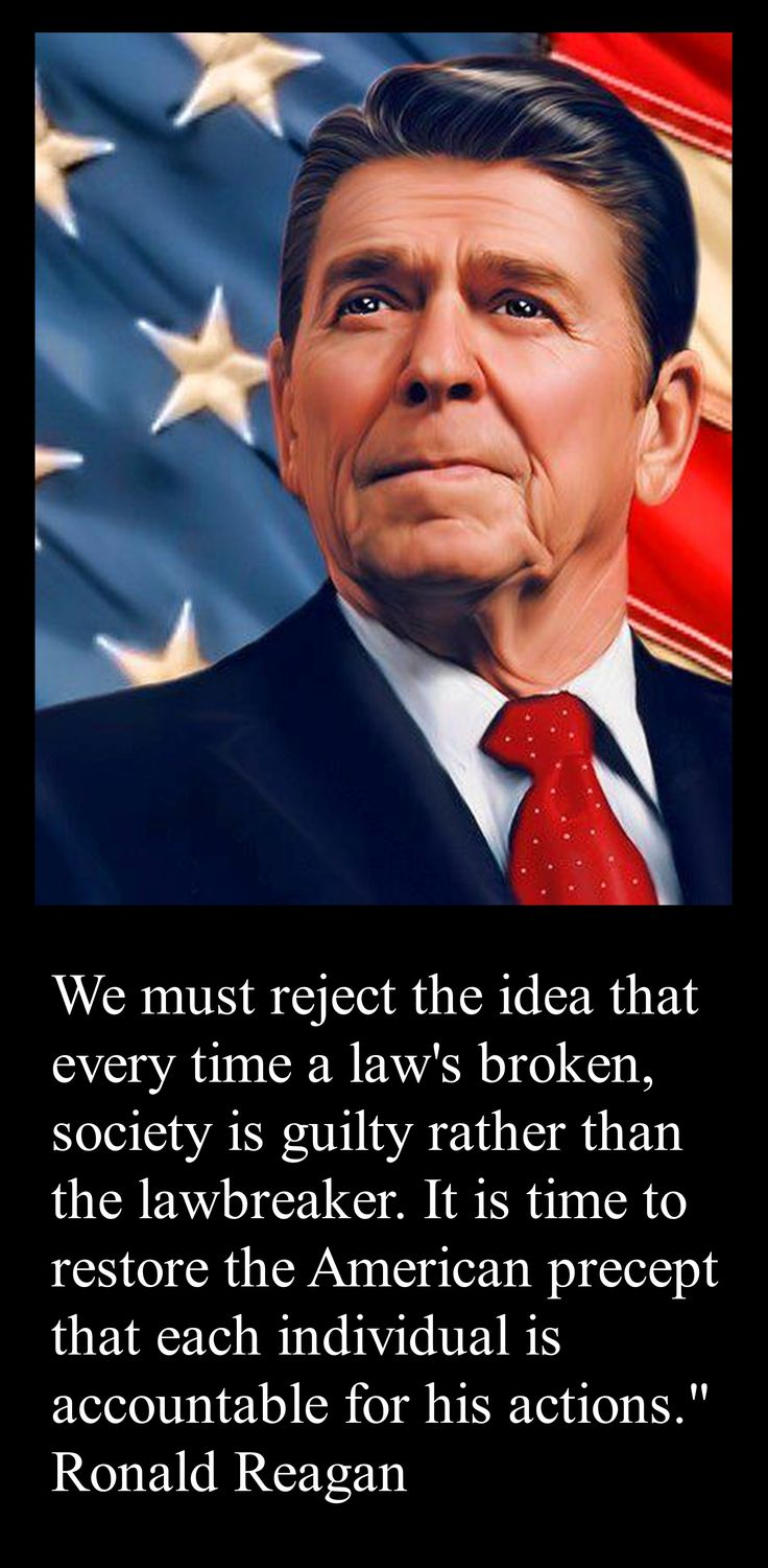 PRESIDENT Ronald Reagan YES!  Exactly.  Hopefully the blm movement  will soon understand this message.  They need to stop blaming their skin color,  acknowledge that these men,  such as Michael Brown,  we're criminals,  and let them be held accountable for their own demise.