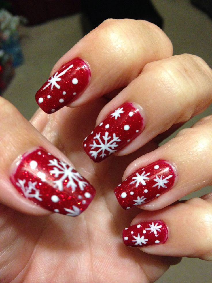 Christmas Snowflake Nails! Design by me on my real nails # ...