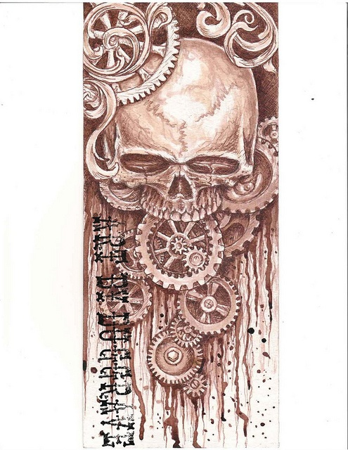 skull and gears by dug grave @ T.H.C. ink, via Flickr
